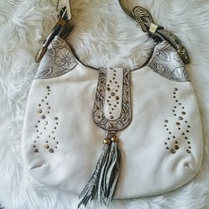 Charm & Luck white leather embellished bag